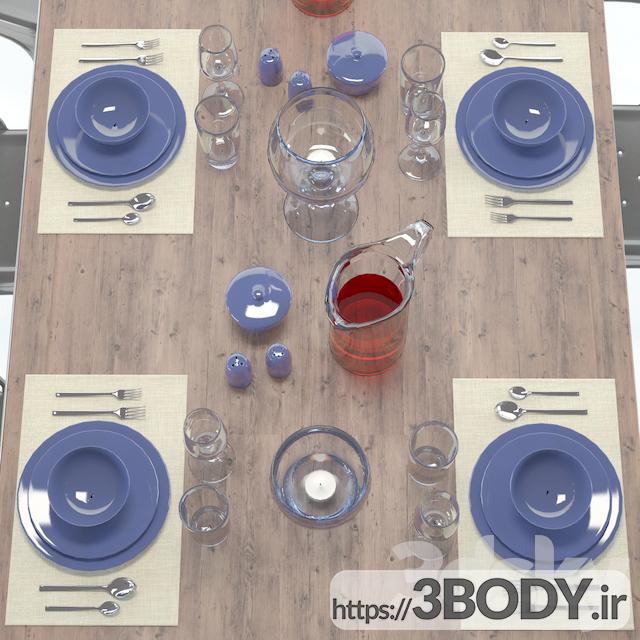 مدل ۳ بعدی میز و صندلی مجموعه  نهار خوری عکس 2