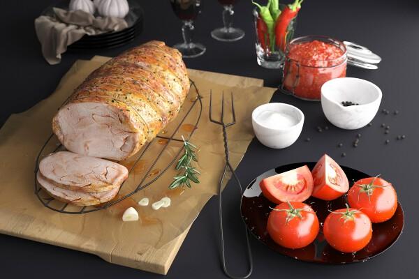 مدل سه بعدی غذای گوشت بریان شده عکس اصلی