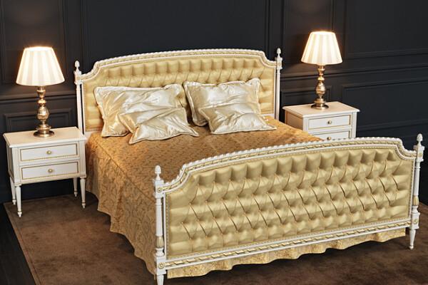 آبجکت سه بعدی تخت خواب  طلایی عکس اصلی