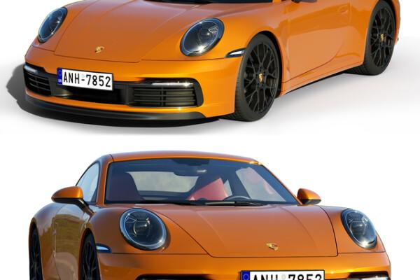 آبجکت 3 بعدی اتومبیل پورشه 911 کاررا S    نارنجی عکس اصلی