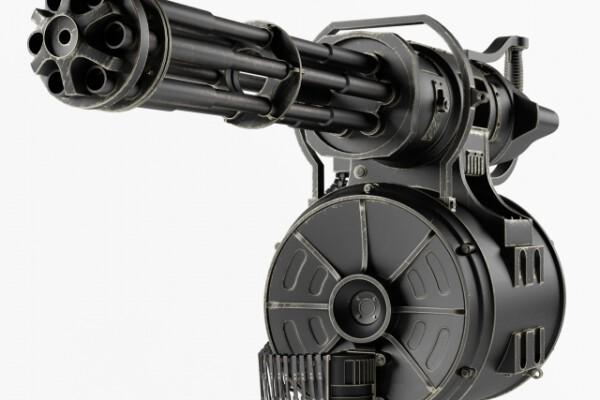 آبجکت سه بعدی تفنگ رگباری سنگین عکس اصلی