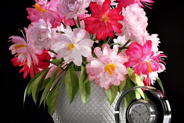 آبجکت سه بعدی  ست تزئینی گل و گلدان عکس اصلی