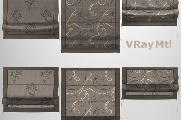 آبجکت سه بعدی پرده رومی  تیره عکس اصلی