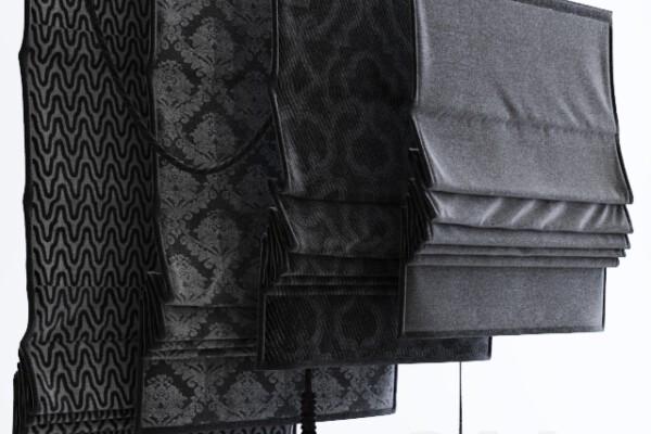 آبجکت سه بعدی پرده رومی  سیاه عکس اصلی