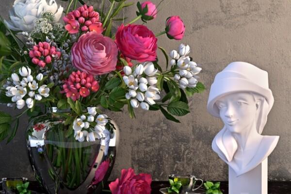آبجکت سه بعدی ست دسته گل رومیزی عکس اصلی