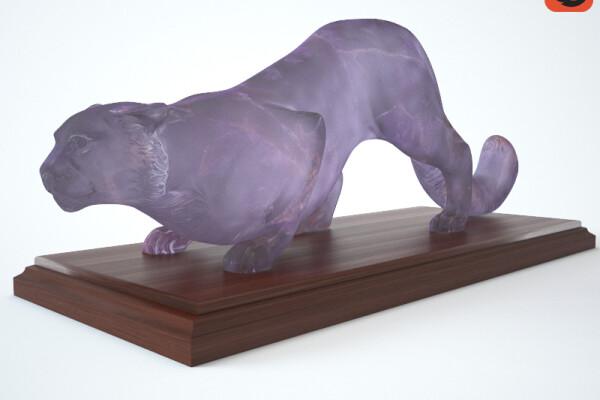 آبجکت سه بعدی مجسمه پلنگ عکس اصلی