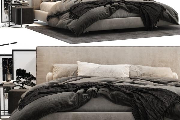 آبجکت سه بعدی تختخواب دو نفره ایتالیایی عکس اصلی