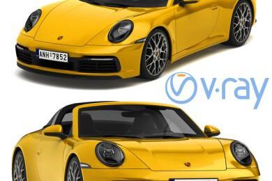 آبجکت سه بعدی اتومبیل پورشه 911 تارگا 2019   زرد عکس اصلی
