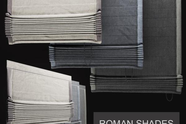 مدل سه بعدی پرده رومی  خاکستری عکس اصلی