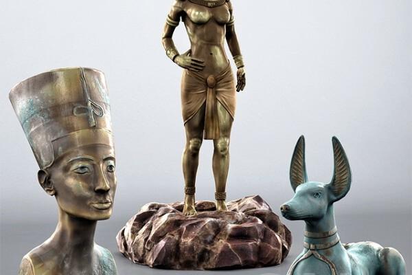 مدل سه بعدی مجموعه مجسمه ی اهرام مصر عکس اصلی