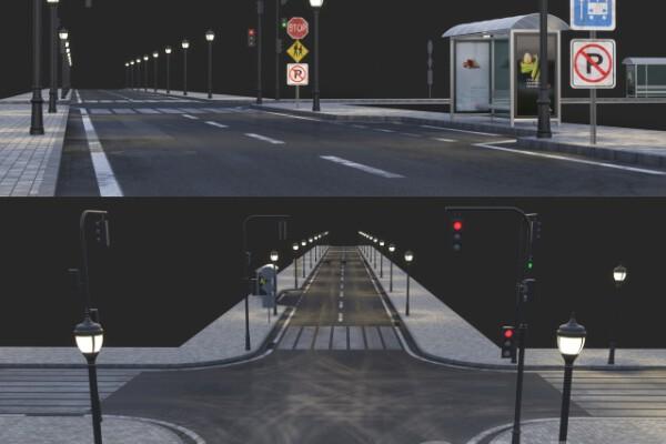 مدل سه بعدی چهار راه و خیابان عکس اصلی