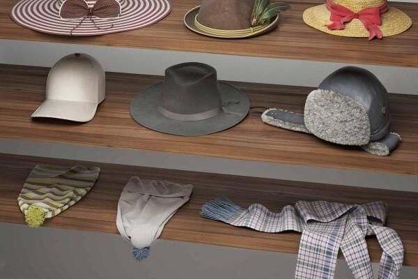 آبجکت سه بعدی مجموعه کلاه عکس اصلی