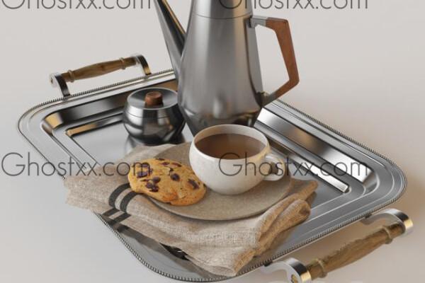 آبجکت سه بعدی قهوه با کلوچه عکس اصلی