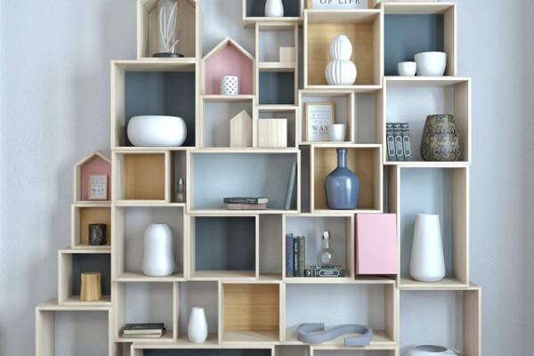 مدل سه بعدی لوازم دکوری قفسه های چوبی عکس اصلی