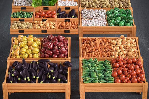 آبجکت سه بعدی جعبه های سبزیجات و میوه عکس اصلی