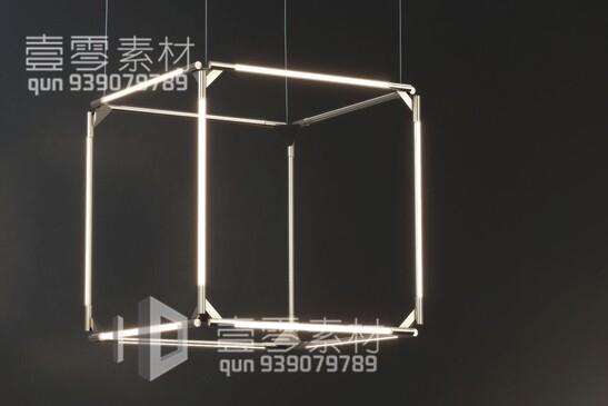 آبجکت سه بعدی  لوستر سقفی مکعبی عکس اصلی