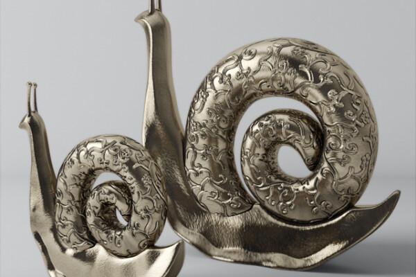 مدل سه بعدی مجسمه حلزون عکس اصلی