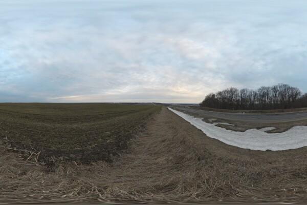 فایل HDRI خارجی کنار جاده زمستانی روستایی عکس اصلی