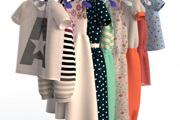 آبجکت سه بعدی لباس کودکان روی آویز عکس اصلی
