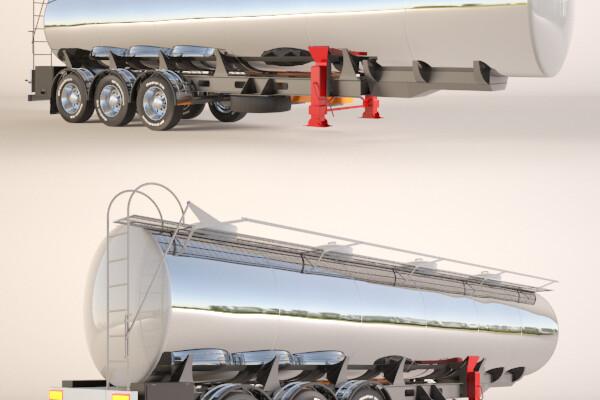 آبجمت سه بعدی تریلر تانکر سوخت بنزین    طوسی عکس اصلی