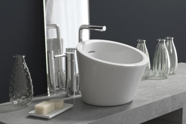 آبجکت سه بعدی دستشویی با دکوراسیون عکس اصلی
