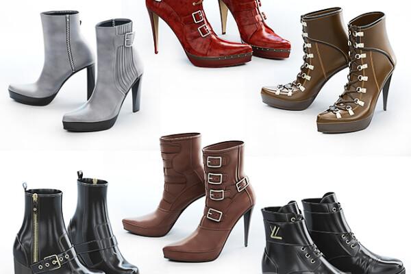 مدل سه بعدی مجموعه کفش های زنانه عکس اصلی