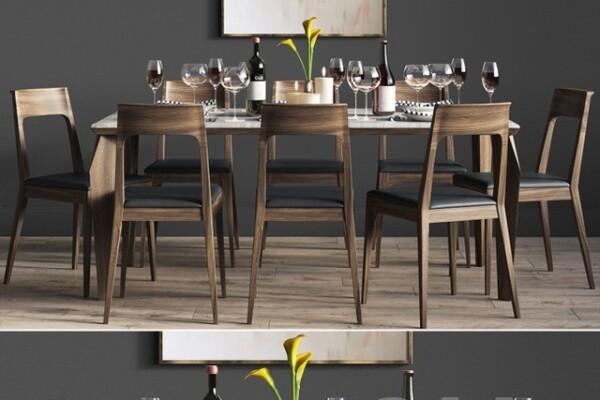 آبجک ۳ بعدی  میز و صندلی مجموعه ناهار خوری عکس اصلی