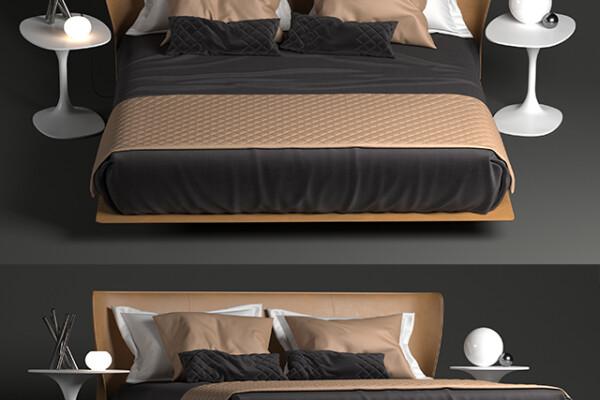 آبجکت سه بعدی تخت خواب دو نفره ایتالیایی عکس اصلی
