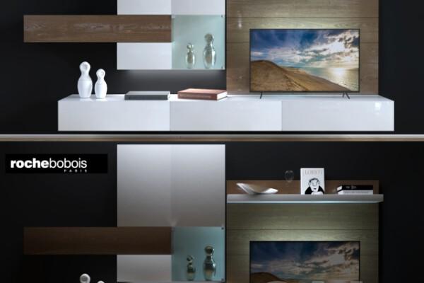 مدل سه بعدی تلویزیون با دکور دیواری عکس اصلی
