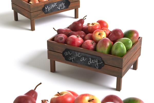مدل سه بعدی جعبه های پر از سیب عکس اصلی