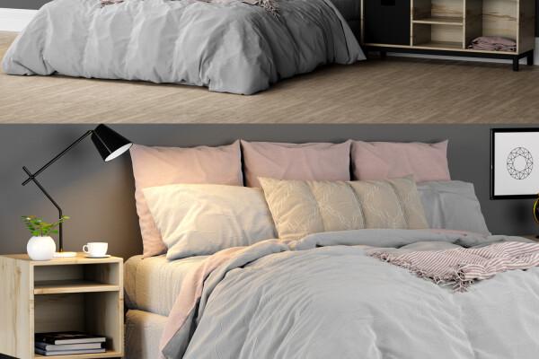 آبجکت سه بعدی تختخواب دو نفره عکس اصلی