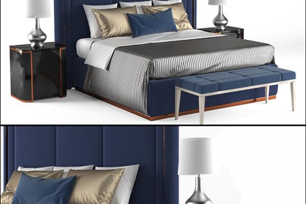 آبجکت سه بعدی تخت خواب دو نفره  آبی عکس اصلی