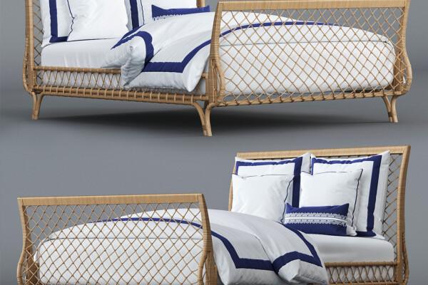 آبجکت سه بعدی تختخواب ساحلی  سفید عکس اصلی