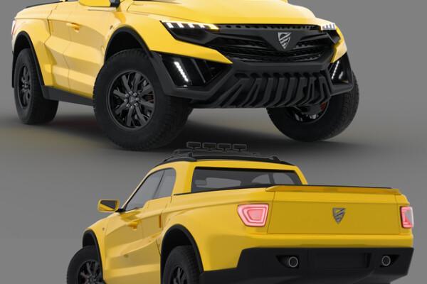 آبجکت 3 بعدی اتومبیل   زرد عکس اصلی