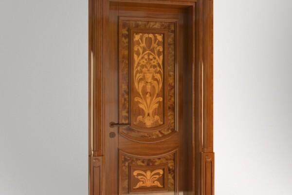آبجکت سه بعدی درب کلاسیک  قهوه ای عکس اصلی