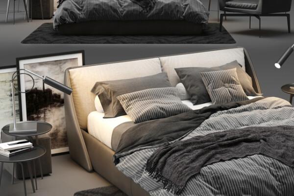 آبجکت سه بعدی تخت خواب دو نفره  خاکستری عکس اصلی