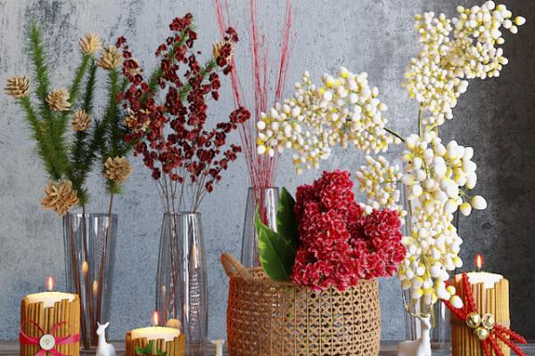 آبجکت سه بعدی ست گلهای زمستانی عکس اصلی