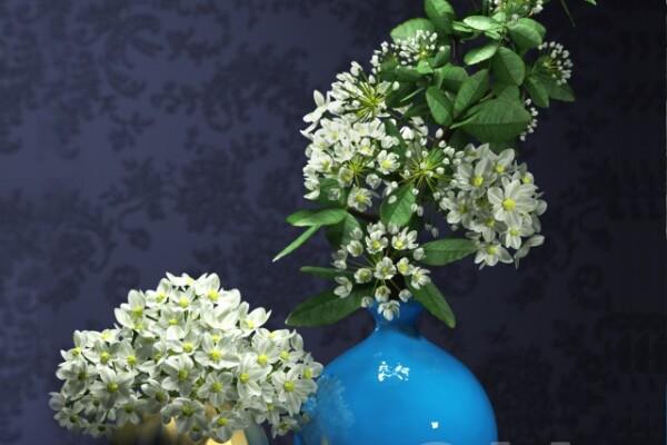 آبجکت سه بعدی  دسته گل در گلدان عکس اصلی