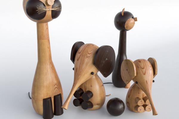 آبجکت سه بعدی اسباب بازی های ساخته شده از چوب عکس اصلی
