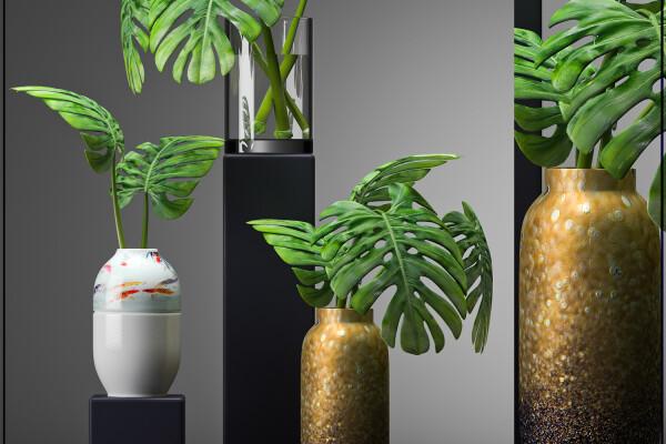 آبجکت سه بعدی گل وگلدان دکوری عکس اصلی