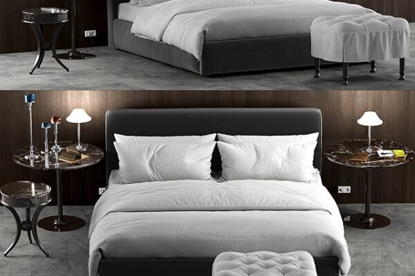 آبجکت سه بعدی تخت خواب دو نفره نرم عکس اصلی