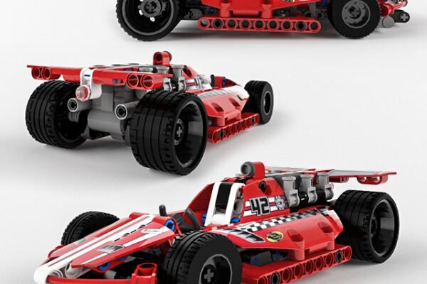 آبجکت سه بعدی ماشین مسابقه ای لگو تکنیک   قرمز عکس اصلی