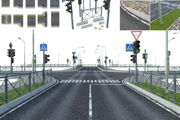 آبجکت سه بعدی تمام حالت های خیابان های شهری عکس اصلی