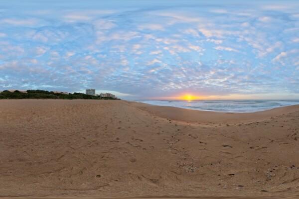 تصویر HDRI طلوع خورشید در ساحل عکس اصلی