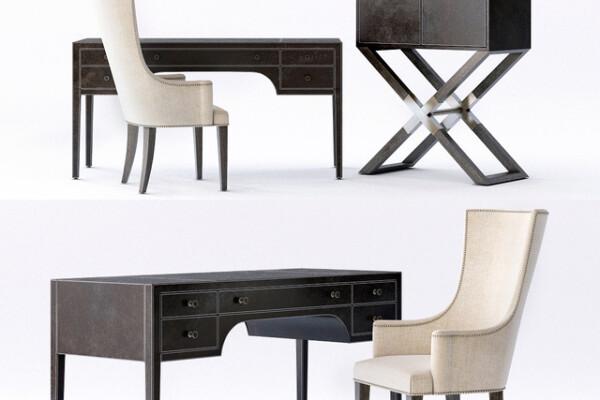 آبجکت سه بعدی صندلی و میز اداری عکس اصلی