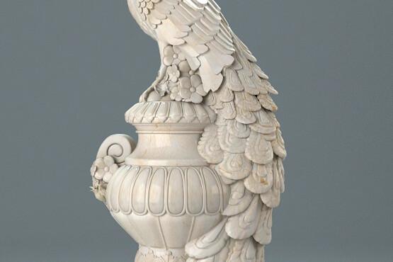 آبجکت سه بعدی مجسمه طاووس عکس اصلی