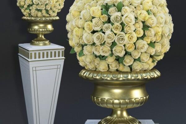 آبجکت سه بعدی دسته گل  رز زرد عکس اصلی
