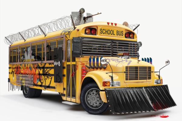 آبجکت سه بعدی اتوبوس مدرسه عکس اصلی